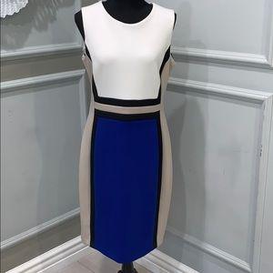 CALVIN KLEIN COLOR-BLOCK SHEATH DRESS SIZE 12